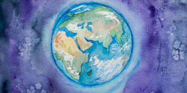 A water color image of planet Earth