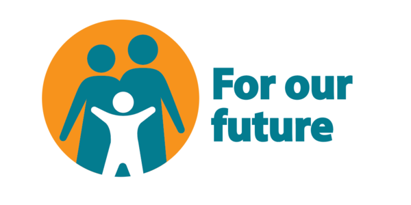 Circular orange icon with three grouped people figures and text that reads: for our future.