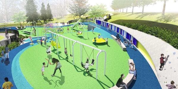 Rendering of future playground shows bright blue and green surface with kids on swings and climbing a rock wall