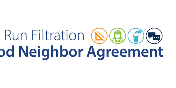Bull Run Filtration Good Neighbor Agreement with icons representing design (protractor and pencil), construction (worker with hard hat), operations (faucet pouring water), and communications (comment bubbles)