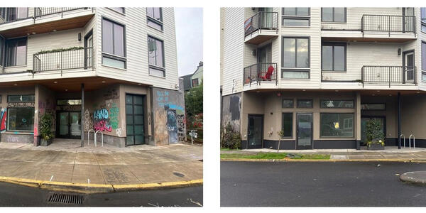 A before and after picture. The picture on the left shows a mixed use building with a lot of graffiti on the front of the building. The picture on the right shows it after it has been cleaned by the Graffiti Program