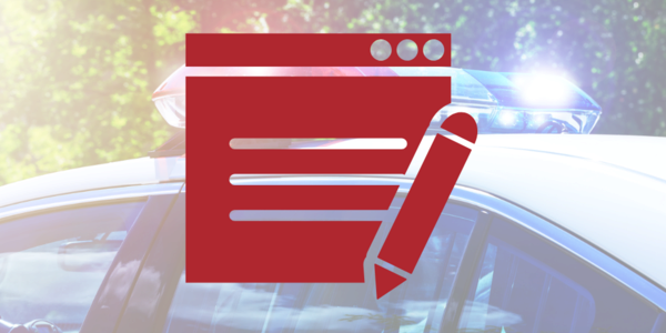 Icon of an online form over a photograph of a police car.
