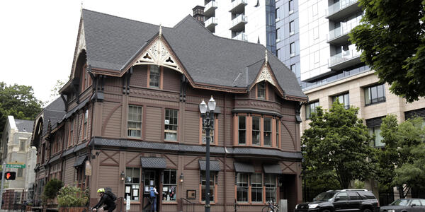 This is a photo of the Ladd Carriage House, which is located in downtown Portland and is on the National Register of Historic Places.