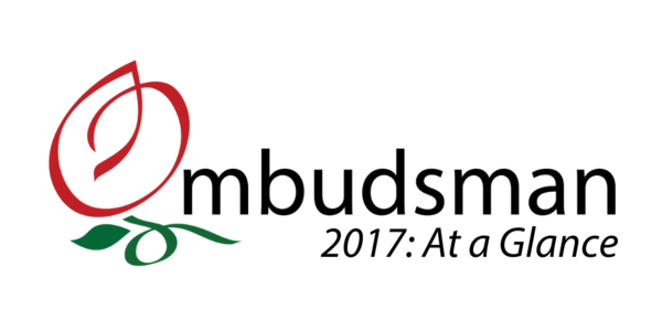 "Image of the Ombudsman's Office's logo with text that says, ""2017: At a glance."""