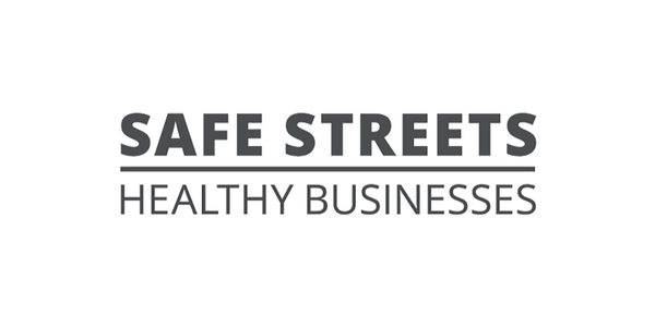 Words Safe Streets Healthy Businesses in grey text on a white background.