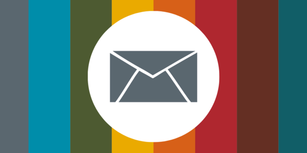 Icon of an envelope over a background featuring the colors of the different divisions of the Auditor's Office