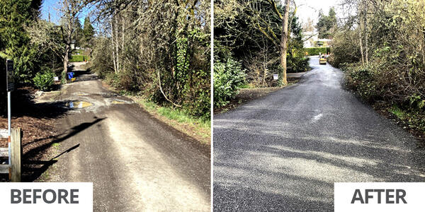 Before and after: SW 48th Avenue between SW Pendleton and Iowa streets was graded and graveled in early 2021 as part of PBOT's Gravel Street Service. Photos by PBOT.