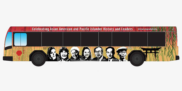 Illustration of TriMet bus with their new bus wraps honoring AAPI Heritage Month
