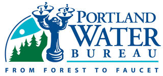 Logo of Portland water bureau depicting the Benson Bubblers