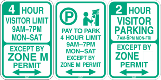 Area parking permit signs example. Signs will says parking excited by permit with a visitor time limit and hours of enforcement. Sign varies by zone.