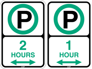 Examples of timestay signs in non-metered areas. The number indicates how long you can park before you must move your car to another blockface.