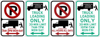 Examples of truck loading signs.
