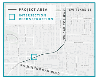 A map showing the project area for the Fixing Our Streets SW Capitol Highway: Multnomah to Texas paving project.