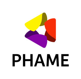 The PHAME Logo which showcases folding triangles in a shape of a big triangle with the words PHAME underneath it