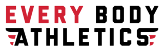 Red and black logo for Every Body Athletics
