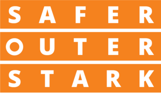 Orange and white Safer Outer Stark logo
