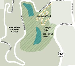 Illustrated map shows the closure of Madison Trail between SW Sacajawea Boulevard and SW Canyon Road