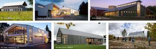 Color photos of farming style buildings.