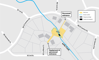 This map shows the construction area near Kelly Creek, as well as equipment and personnel entrances on SE La Mesa Court and NE El Camino Drive.