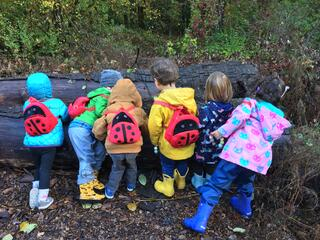 Children look out at a park wearing their ladybug backpacks.