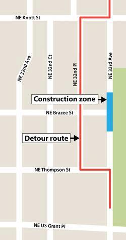 A map showing construction along NE 33rd Ave; use NE 32nd Place as a detour around the construction zone