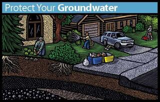 Illustration of outdoor, residential chemical uses including landscaping, lawn care, and car fluids.