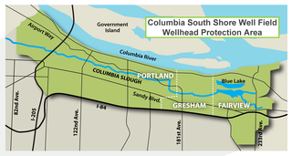 map of the columbia south shore well field