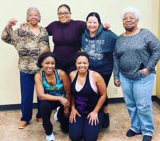 Trainer Tyra and her fitness crew (pre-covid)