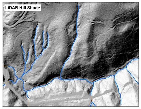 black and white topographical map with streams shown in blue