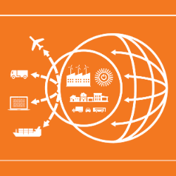 A 2d illustration showing a globe, with arrows coming out of it, pointing at an airplane, car, computer, and ship