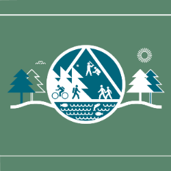 A 2d illustration showing trees, a river, and people hiking