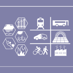 A 2d illustration showing biyclists, trams, buses, and wind plants next to a diagram of natural hazards