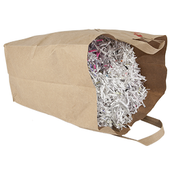 A paper bag full of shredded paper