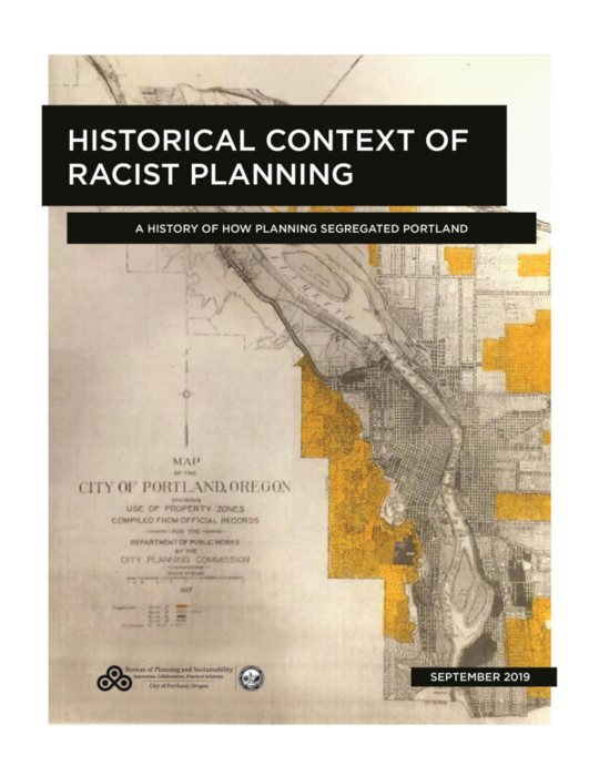 The cover of the report, showing a dated map behind the title of the report
