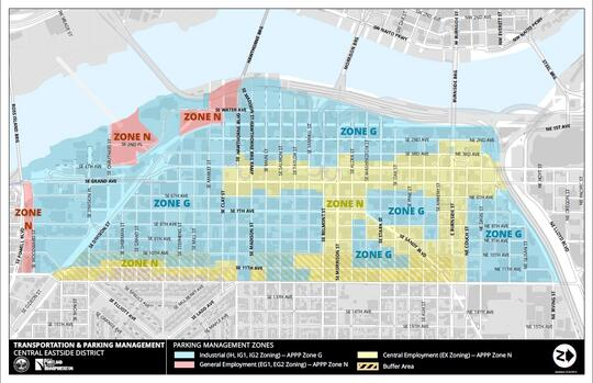 A map of the Industrial, General Employment, and Central Employment zones within the Central Eastside
