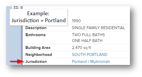 Example of where to find jurisdiction on Portland Maps