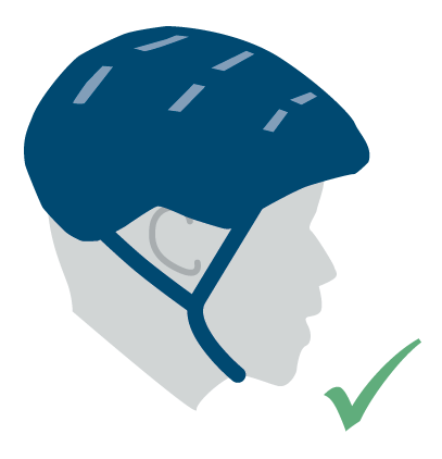 "An illustration of a child with a properly fitted helmet: it is two finger widths above their eyebrow and the straps fit snugly, making a ""V"" just under the ears."
