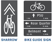 Symbol for bike sharrow and bike directions