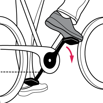 Image of bike with foot on right pedal preparing to take off