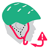 Illustration of green helmet with caution symbol to indicate the straps are too loose