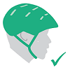 Illustration of green helmet with green check mark to indicate correct fit