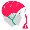 Illustration of helmet tilting backwards off the forehead with a warning symbol