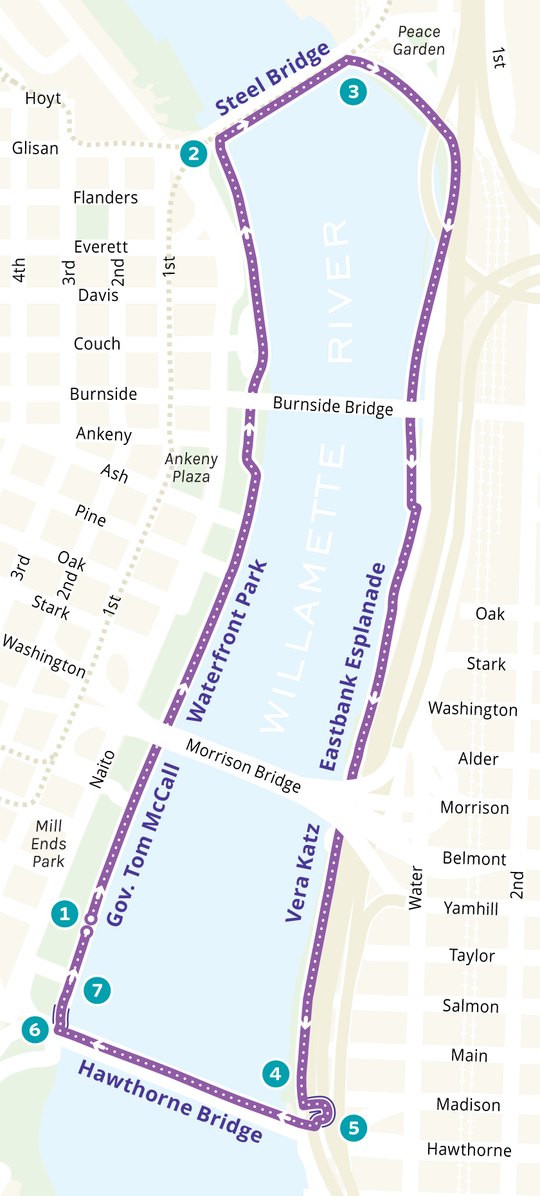 Map of Portland waterfront showing directions for a walking loop