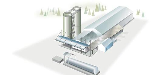 A illustration of a rectangular building with two silos.