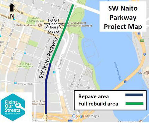 SW Naito Parkway Improvement Project overview map