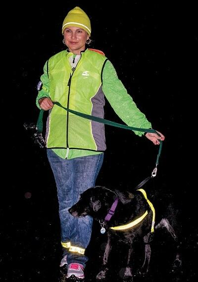Pedestrian walking at night with dog wearing reflective gear