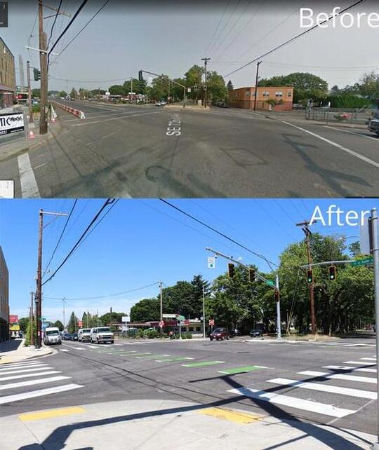Foster Road Streetscape Project before/after