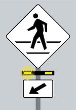 Graphic of crosswalk sign post with flashing beacon and arrow pointing to crosswalk