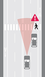Graphic with warning for pedestrians to look for cars blindspots