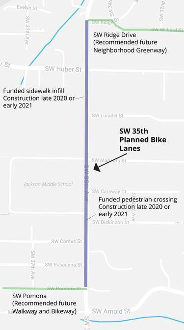 SW 35th Bike Lanes project extents